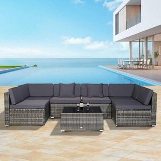 Havenside Home Siara 7-piece Modern Rattan Wicker Modular Sectional Patio Set