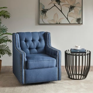Madison Park Larry Blue Swivel Glider Chair