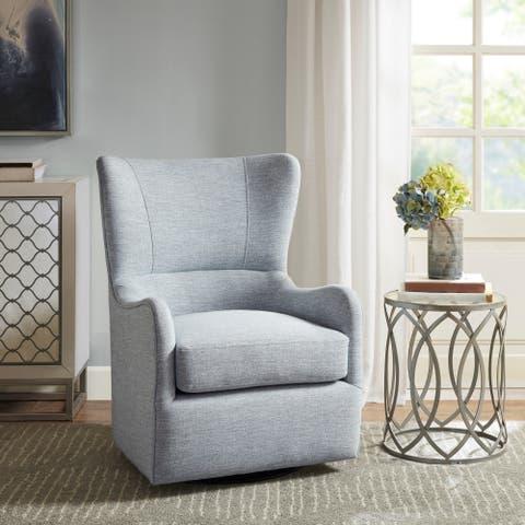 Madison Park Leda Light Blue Swivel Glider Chair