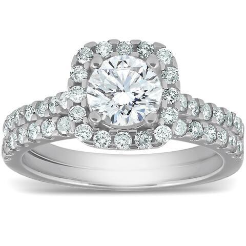 Pompeii3 14k White Gold 2 Ct TDW Cushion Halo Round Diamond Engagement Wedding Ring Set Clarity Enhanced