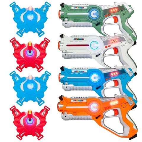 Infrared Laser Tag Guns Blasters Set with Vests, Best Toy for kids Multiplayer Mode 4 pack