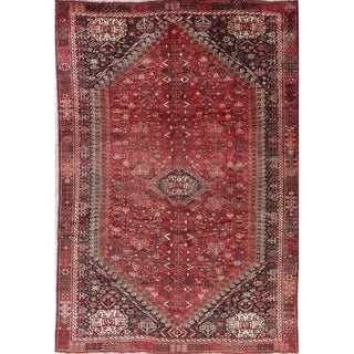"Antique Qashqai Tribal Geometric Hand-Knotted Wool Persian Area Rug - 9'11"" x 6'10"""