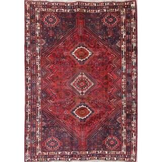 """Vintage Kashkoli Tribal Geometric Hand-Knotted Wool Persian Area Rug - 8'10"""" x 6'3"""""""