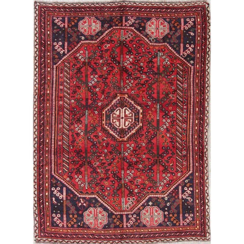 "Shiraz Geometric Hand-Knotted Wool Persian Oriental Area Rug - 9'2"" x 6'8"""