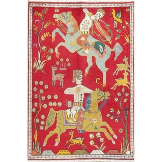 """Shiraz Animal Pictorial Hand-Knotted Wool Persian Oriental Area Rug - 5'0"""" x 3'3"""""""