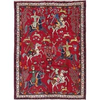 "Abadeh Animal Pictorial Pictorial Hand-Knotted Wool Persian Area Rug - 9'9"" x 7'1"""