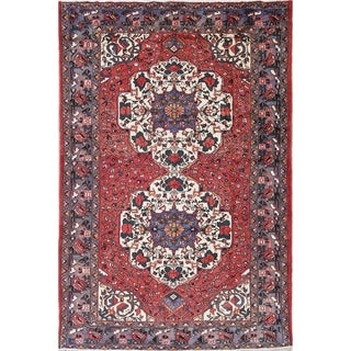 "Bakhtiari Geometric Hand-Knotted Wool Persian Oriental Area Rug - 9'11"" x 6'5"""