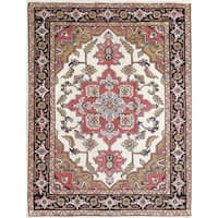 "Vintage Heriz Serapi Geometric Hand-Knotted Wool Persian Area Rug - 6'3"" x 4'9"""