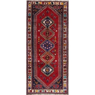 "Abadeh Tribal Geometric Hand-Knotted Wool Persian Oriental Rug - 7'8"" x 3'6"" Runner"