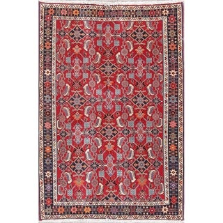 "Kashkoli All-Over Geometric Hand-Knotted Wool Persian Area Rug - 4'9"" x 3'3"""