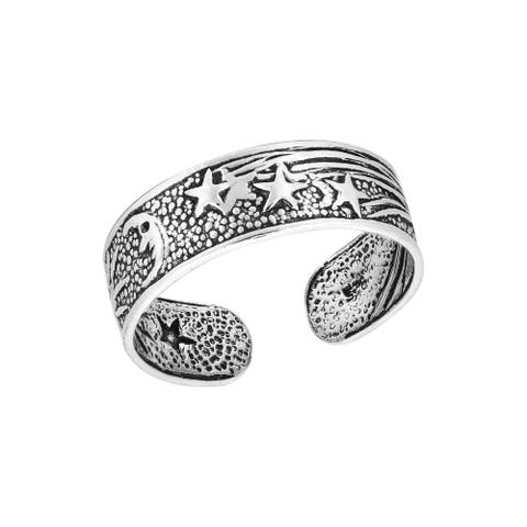 Handmade Celestial Sky with the Sun Moon and Stars Sterling Silver Toe or Pinky Ring (Thailand)