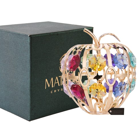 """24K Gold Plated 2.75"""" Apple Ornament with Colored Crystals by Matashi"""