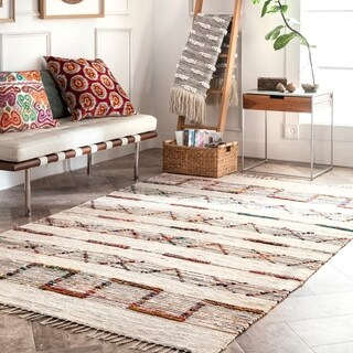 The Curated Nomad Donna Cotton Flatweave Casual Tribal Stripe Tassels Area Rug