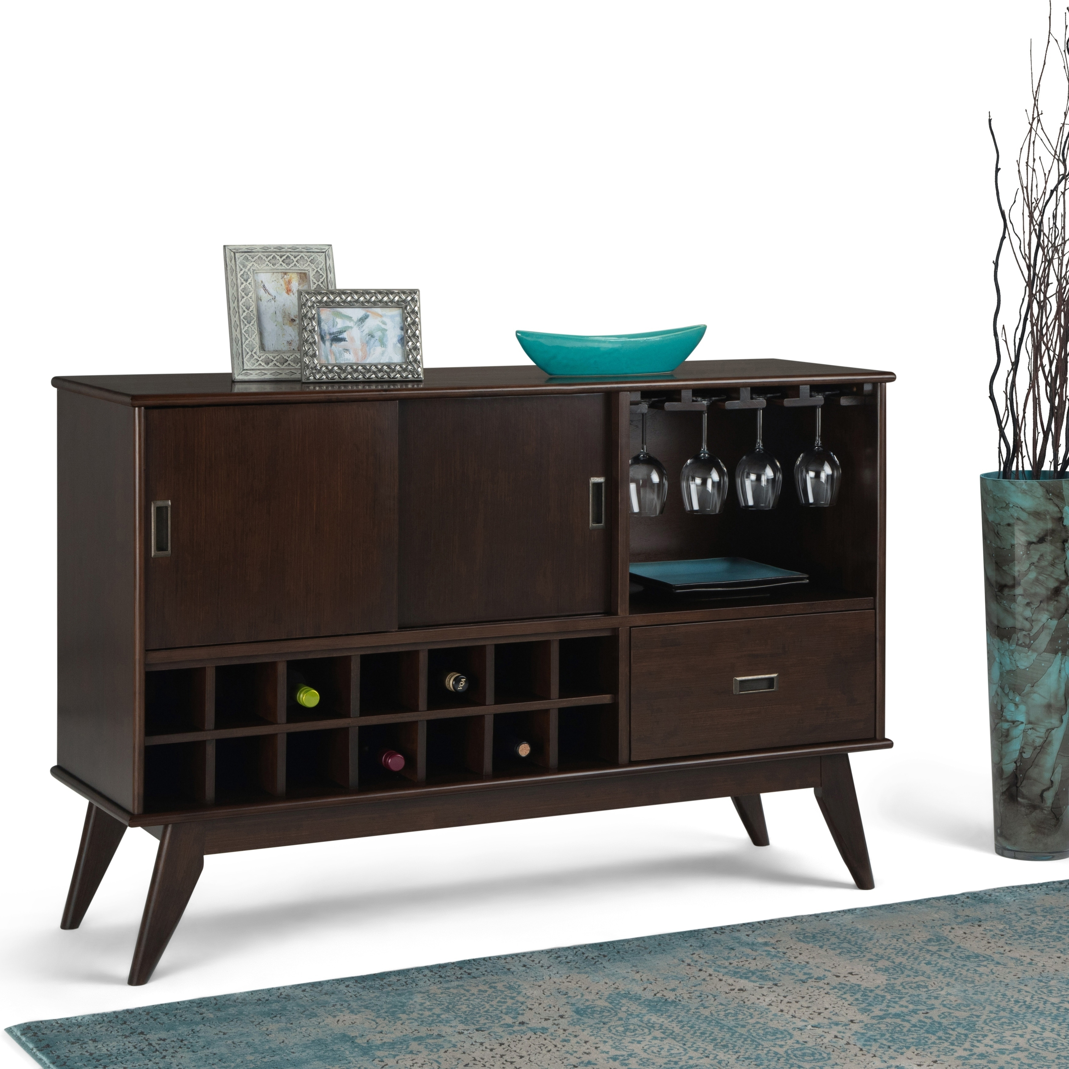 Picture of: Shop Wyndenhall Tierney Solid Hardwood 54 Inch Wide Mid Century Modern Sideboard Buffet With Glassware Storage In Medium Auburn Brown On Sale Overstock 27621412