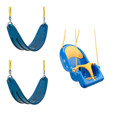 Swing-N-Slide 2 Blue Extreme-Duty Swing Seats with Chains and Comfy Coaster Toddler Swing - N/A