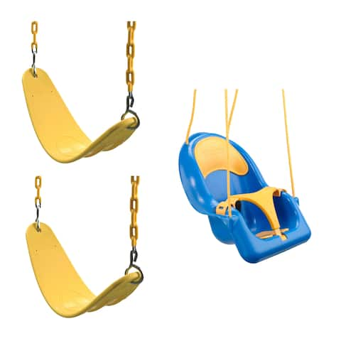 """Swing-N-Slide 2 Yellow Extreme-Duty Swing Seats with Chains and Comfy Coaster Toddler Swing - 26"""" L x 6"""" W x .5"""" Thick"""