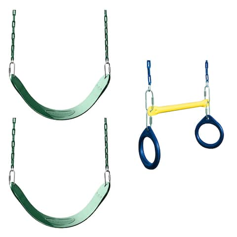 """Swing-N-Slide 2 Green Swing Seats and Ring & Trapeze Bar Combo - 27"""" L x 5.5"""" W x 60"""" H"""