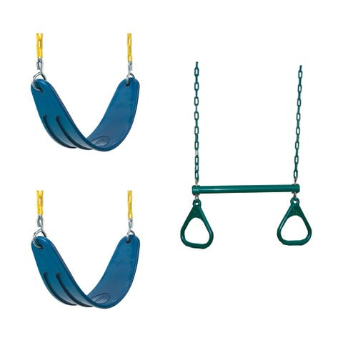Swing-N-Slide 2 Blue Extreme-Duty Swing Seats with Chains and Extreme-Duty Ring/Trapeeze Bar Combo