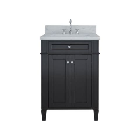 Furnishmore Allentown Wood/Marble Single Bathroom Vanity