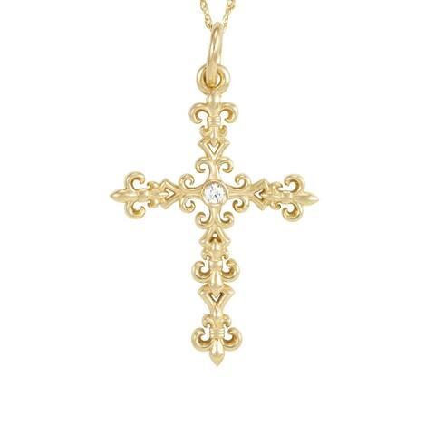 "Antwerp's ""Kings Cross"" Necklace in 14 k Gold with .02 CT Diamonds"