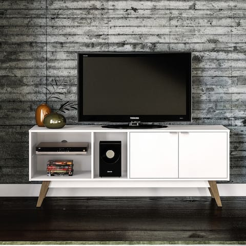 Carson Carrington Ufberget 59-inch White and Light Brown TV Stand