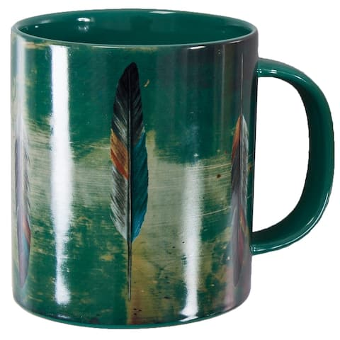 HiEnd Accents Bohemian Tossed Feather 4 Piece Mug Set