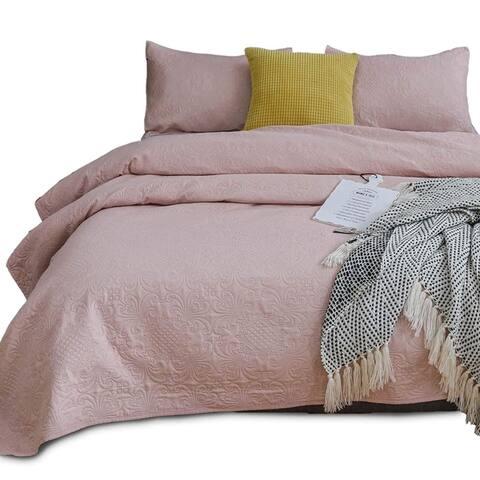 Kasentex Coverlet Quilt Set Pre Washed Brushed Microfiber - Floral