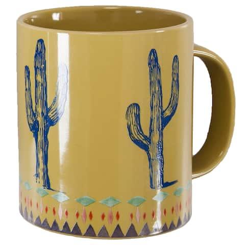 HiEnd Accents Rustic Cactus Border 4 Piece Mug Set