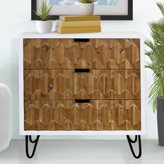 Carson Carrington Norrbo White and Natural Origami 3-drawer Chest