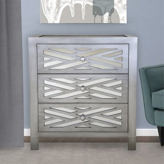 Silver Orchid Prince Wood and Glass Lattice 3-drawer Mirror Chest
