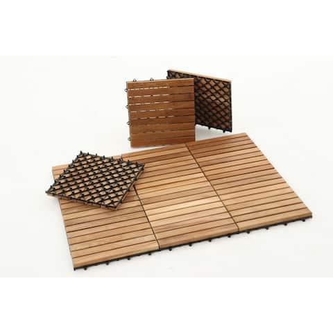 Nordic Style Natural Teak Tile 9 slats, 10 pcs per box