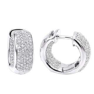 Ladies Diamond Hoop Earrings Small Huggies Inside Out in 14K Gold 0.7ctw by Luxurman