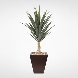 Artificial Yucca Plant with Rocks in Brown Metal Tapered Pot