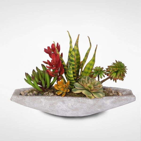 Colorful Artificial Tropical Succulents in a Stone Boat