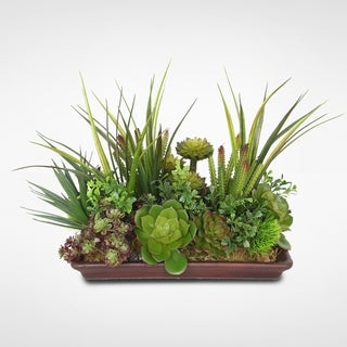 Assorted Artificial Succulents in a Brown Rectangle Saucer