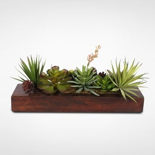 Artificial Succulents in a Rectangle Stained Wood Planter