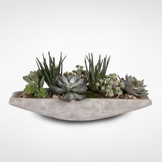Assorted Artificial Succulents with Natural Pebbles in a Stone Boat