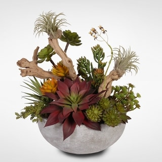 Artificial Succulents with Wood Pieces in a Cement Bowl