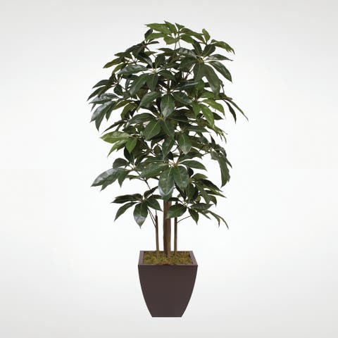 7' Silk Schefflera Tree in a Brown Metal Zinc Pot