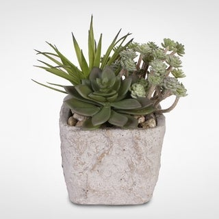 Artificial Succulents with Natural Pebbles in a Concrete Pot