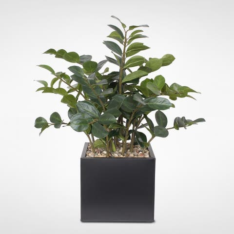 Artificial ZZ Plant with Rocks in a Brown Metal Pot