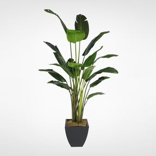 8' Artificial Birds of Paradise Plant in a Black Metal Pot