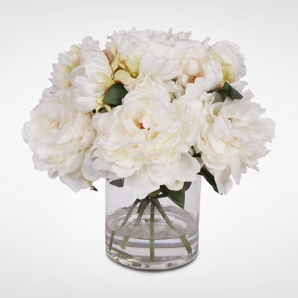 Cream White Silk Peonies with Faux Water in a Glass Vase