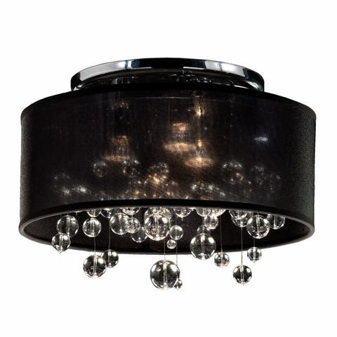 "15""W Drum Shaded Beaded Crystal Flush Mount Silhouette - 590BC"