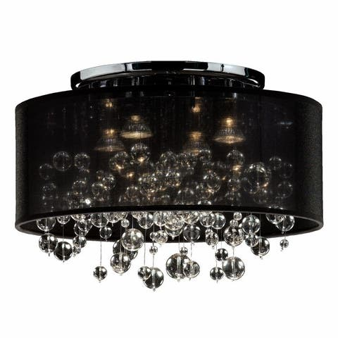 "18""W Drum Shaded Beaded Crystal Flush Mount Silhouette - 590BC"