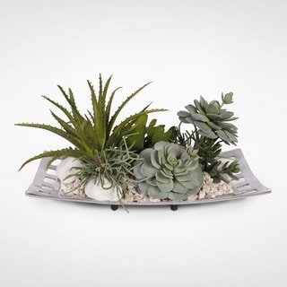 Artificial Succulents with Natural Pebbles in an Aluminum Tray