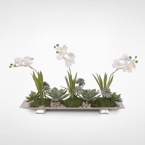 Real Touch White Orchids with Succulents in a Aluminum Tray