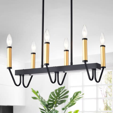 Sonam Matte Black and Gold 6-light Modern Candelabra Chandelier