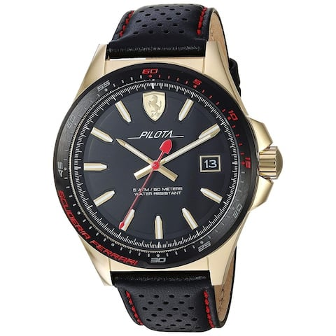 Ferrari Men's 830490 'Pilota' Black Leather Watch