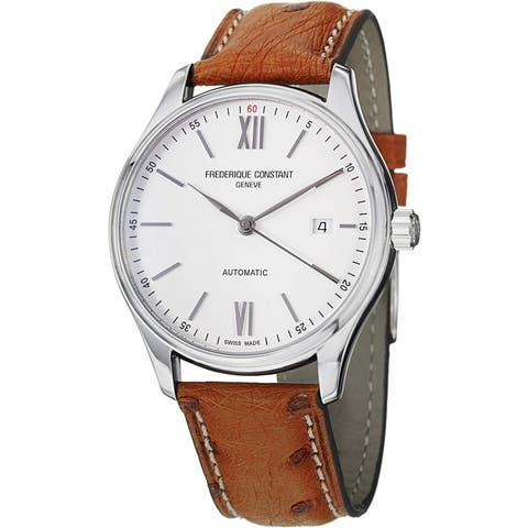 Frederique Constant Men's FC-303WN5B6OS 'Classics' Brown Leather Watch
